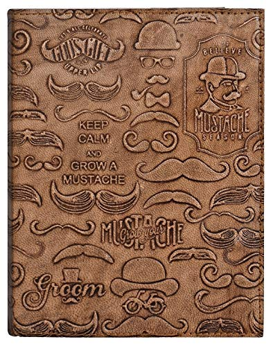 Leather Journal for Men - Grow Your Mustache Notebook Diary - Five Minute Journal for Travelers, Music Lovers & - Mustaches Mugs Coffee
