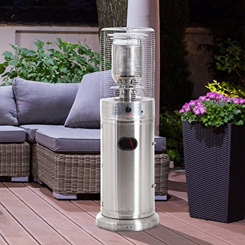 Outsunny 5-11 kw Freestanding Patio Gas Heater Outdoor Garden Table Top Heating Warmer Stainless Steel 135cm Tall