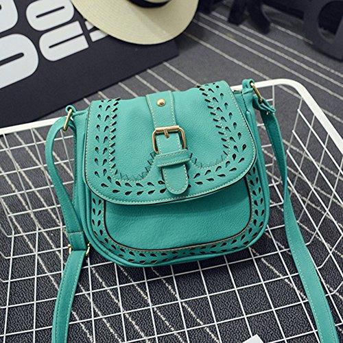 Bag Bag Ladies PU Lake Blue Pattern Crossbody Leather Small Handbag Hollow Shoulder Messenger qFFvBY