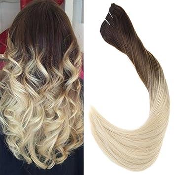 Laavoo 40 Cm Ombre Weave Hair One Bundle Sew In Weft Extensions Echthaar Tressen Glatt Naturlich Schokoladenbraun Zu Platinblond 4t60 100gramm