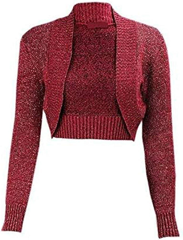janisramone Womens Ladies New Shiny Lurex Knitted Long Sleeve Plain Bolero Shrug Crop Cardigan Short Top