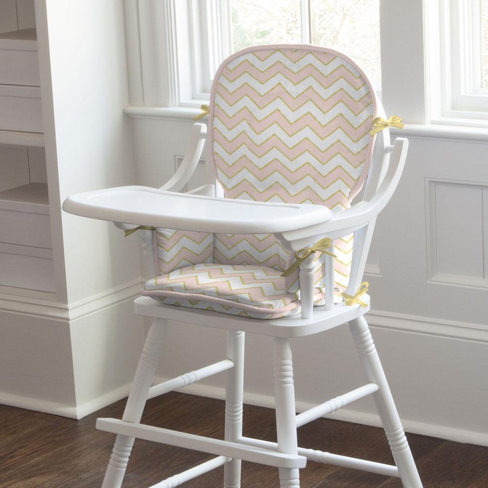 Carousel Designs Pale Pink and Gold Chevron High Chair Pad