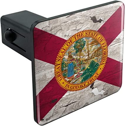 Graphics and More Rustic Florida State Flag Distressed USA Tow Trailer Hitch Cover Plug Insert