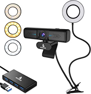 1080P Zoomable 2K Webcam with 2ft USB Hub Switch, Microphone, 3.5 Inch Selfie Ring Light, Mount Stand, and Privacy Cover, for Streaming Online Class, Zoom Skype MS Teams, PC Mac Laptop Desktop
