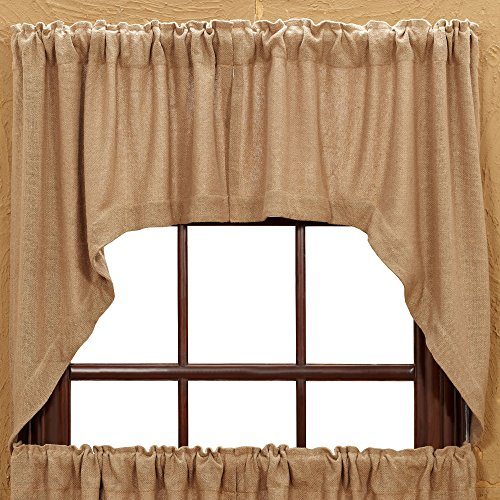 Treatments Swags Window (VHC Brands Burlap Natural Rod Pocket Swag in Tan (Set of 2))