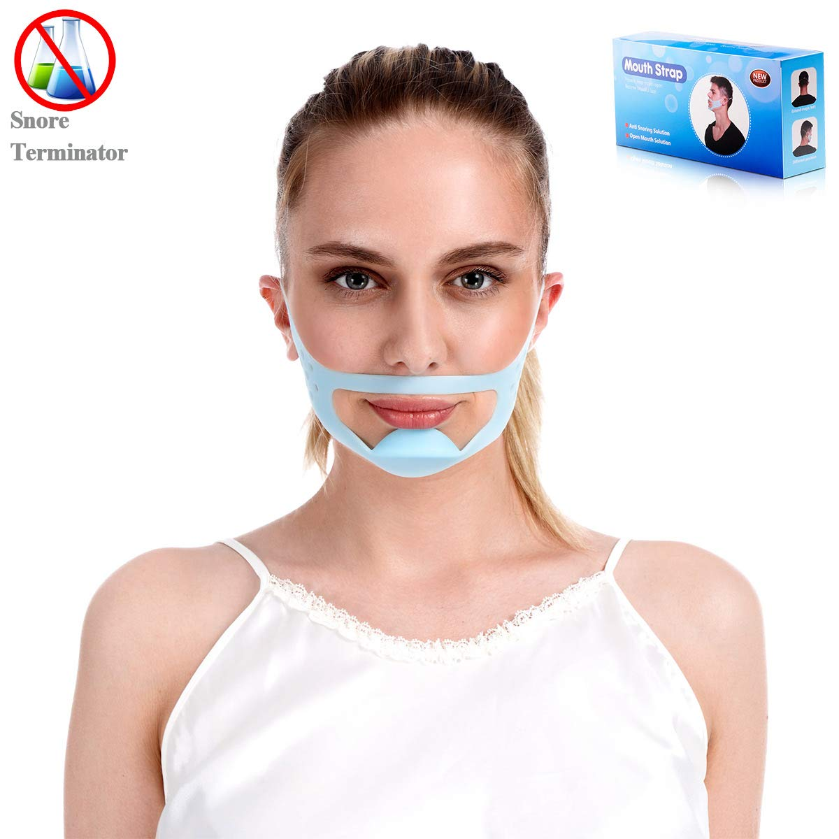 Anti Snoring Devices Chin Strap- Snore Stopper Silicone Snoring Aids Snore Mask for Women and Men- Blue