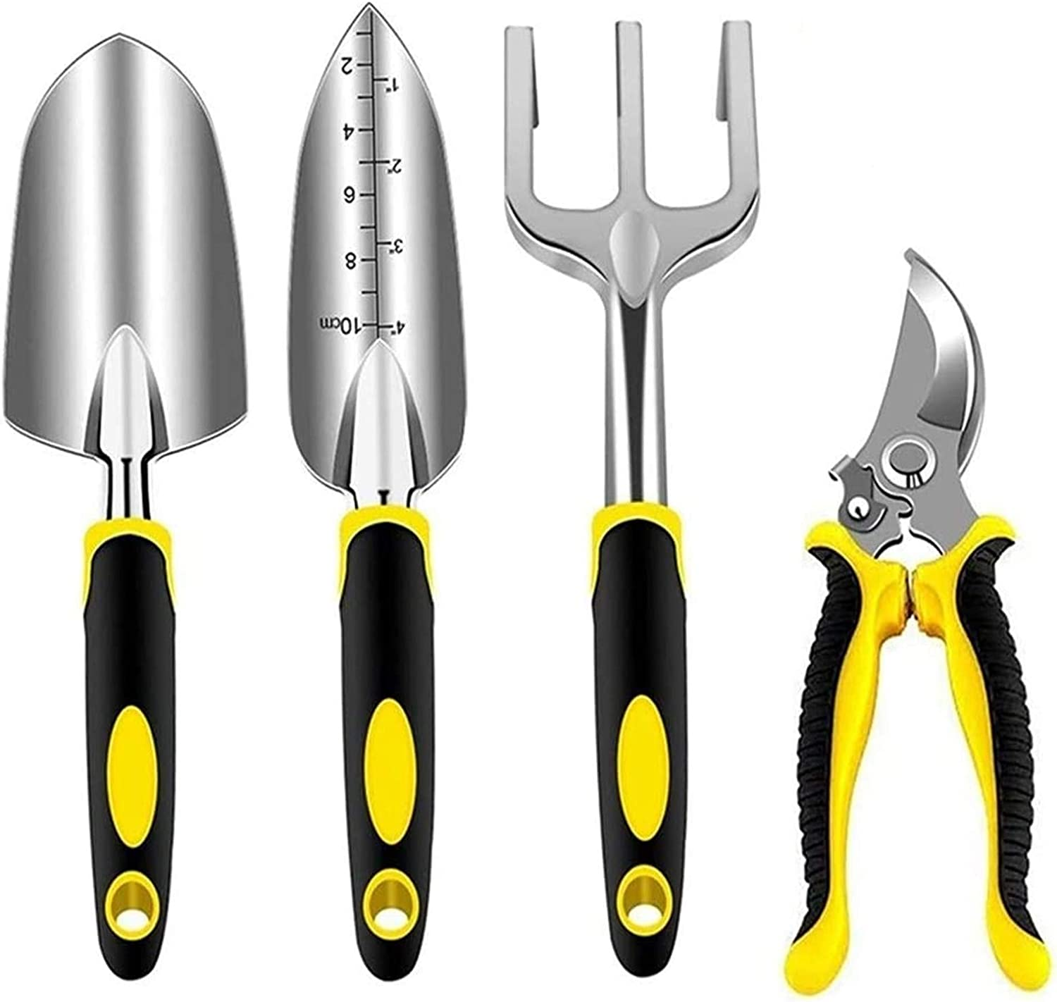 Lion-Y Garden Tool Set 4 Piece Aluminum Gardening Tools Kit with Pruning Shear, Rake, Shovel and Heavy Duty Trowel for Outdoor Flower Plant Bonsai Gardening Hand Tools