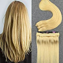 Moresoo Flip in Hair Extensions Human Hair 18 Inch Bleach Blonde 80 Grams Wire Hair Extensions Human Hair #613 Halo Hair Extensions Double Weft