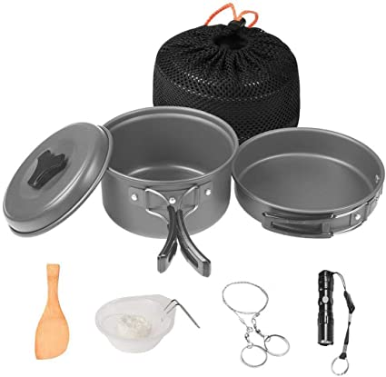 Amazon Com Wolfyok Outdoor Backpacking Cookware Set With Camping Stove And Piezo Ignition Kit For Camping 12 Items Sports Outdoors