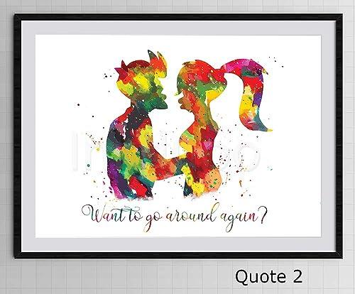 Birthday Gift A320 Futurama Watercolor Print Home Decor Fry and Leela Art Print Nursery Art Painting Wall Art Couple Love Quote Poster