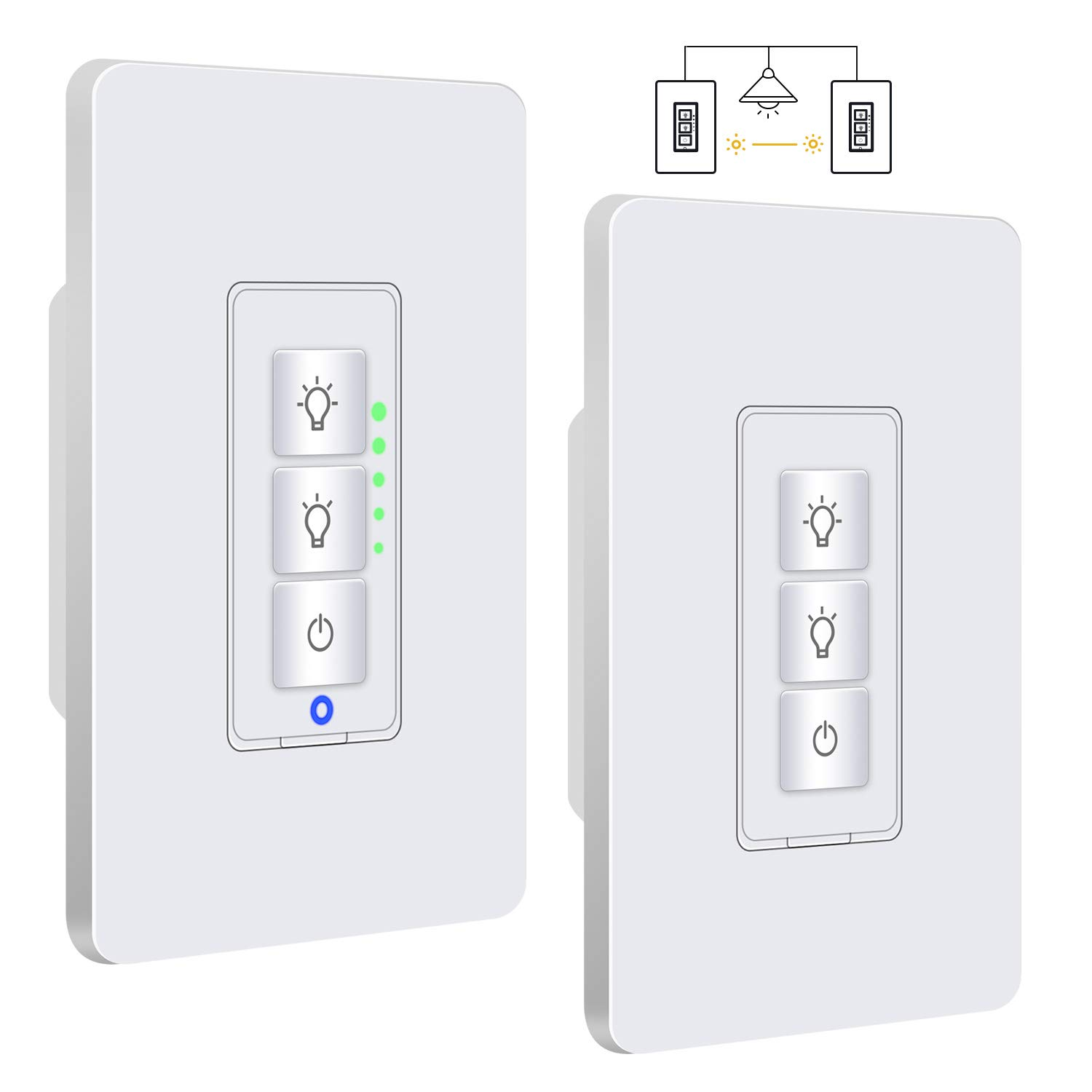 Justcool 3 Way Smart Dimmer Switch Kit: Wifi Timer Light Switch works with Alexa Google Assistant And IFTTT, Master Switch And Add-on Switch Dual dimmable, SmartLife App, NEUTRAL Wire Required, 3-Way