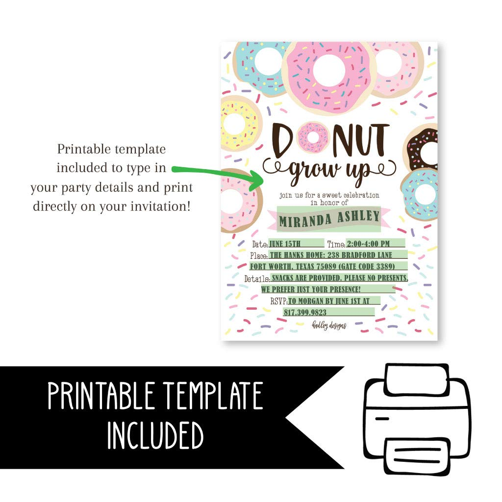 Amazon.com: 25 Donut Kids Birthday Party Invitations, First Baby Shower Invites, Boy or Girl 1st Bday or Gender Reveal Theme, Doughnut Grow Up Children ...