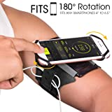 VUP Running Armband for iPhone X/ iPhone 8 Plus/ 8/ 7 Plus/ 6 Plus/ 6, Galaxy S8/ S8 Plus/ S7 Edge, Note 8 5, Google Pixel, 180° Rotatable with Key Holder Phone Armband for Hiking Biking Walking
