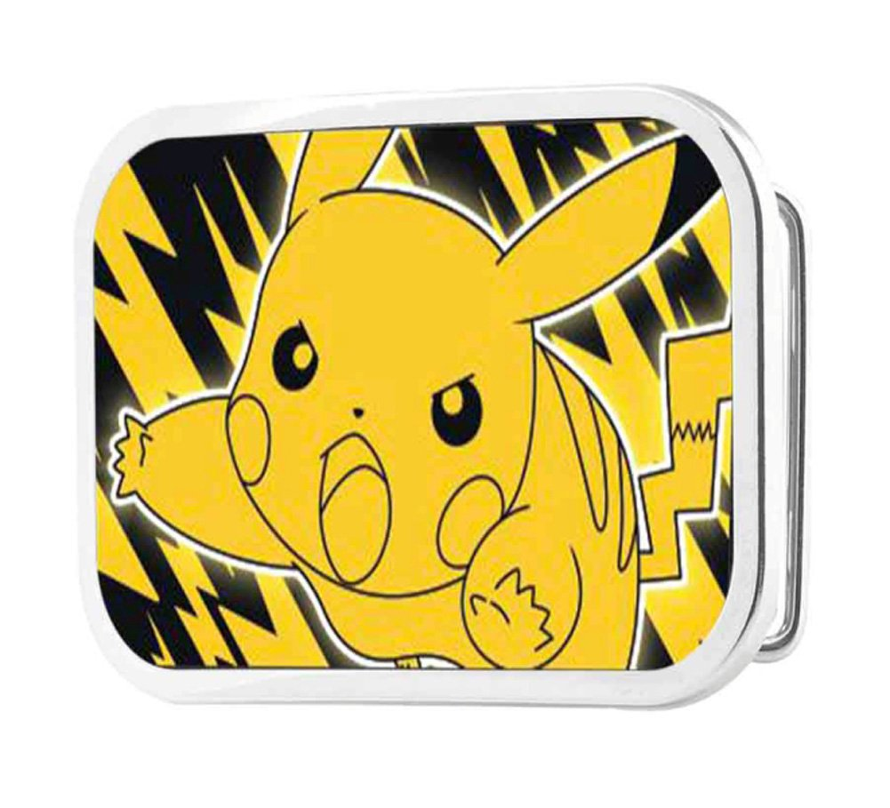 Pokemon Animated TV Series Pikachu Outline Rockstar Belt Buckle Buckle Down