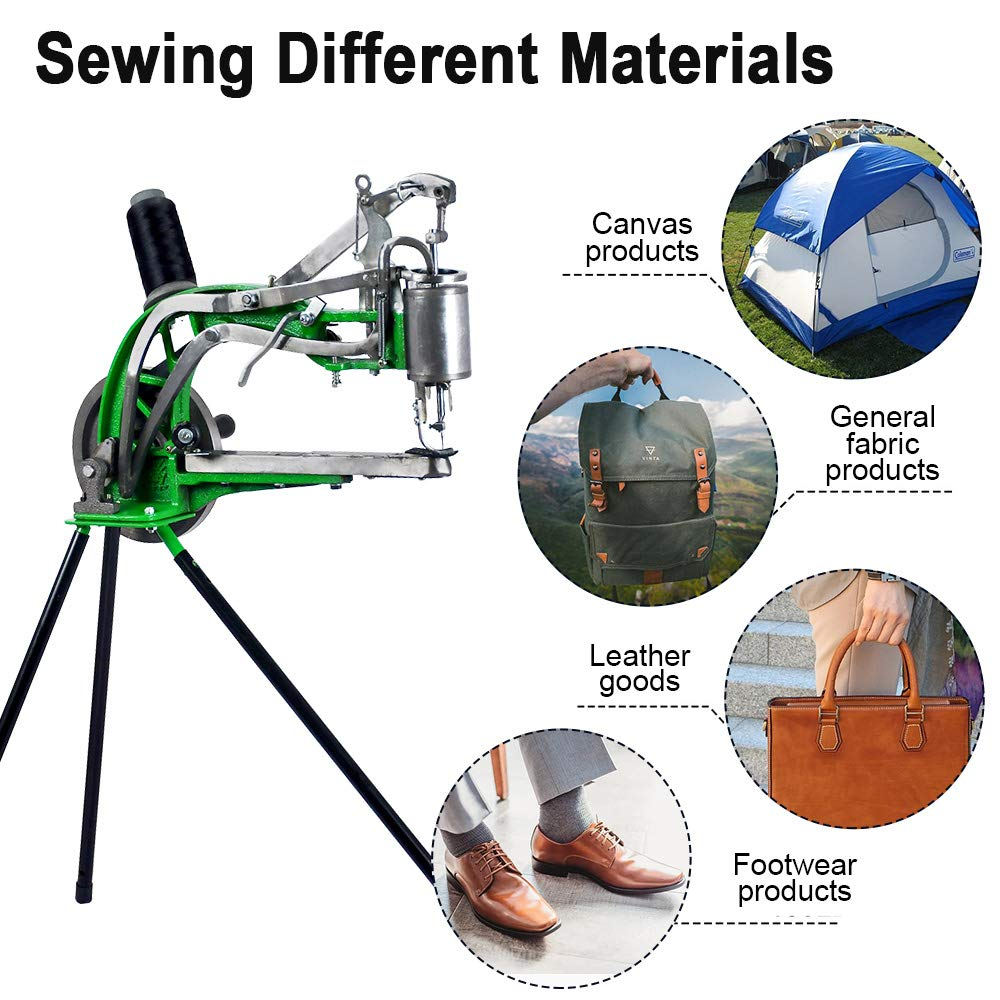 INTBUYING Cobbler Sewing Machine Manual Leather Cobbler Shoe Repair Machine Dual Cotton Nylon Line Sewing Machine