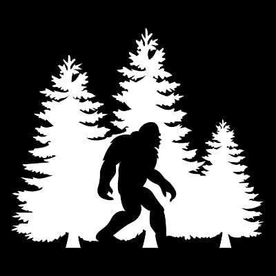 Bigfoot Trees Forest Vinyl Decal Sticker Car Truck Van SUV Window Wall Cup Laptop - One 5.5 Inch White Decal- MKS0678: Automotive [5Bkhe1506412]