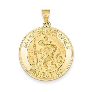 Solid 14k Saint Christopher Medal Pendant 35x26 mm