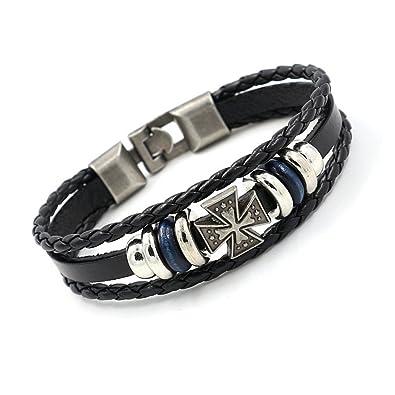 Bracelet cuir homme avec croix