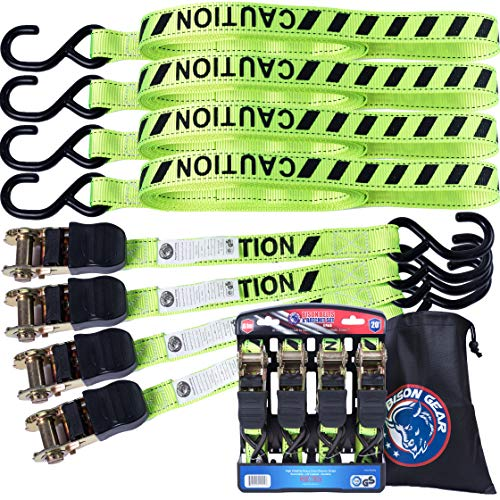 Ratchet Tie Down Straps 20 ft 4 Pack by Bison Gear High Visibility UV Resistant 1800lb Heavy Duty Cargo Straps with Ergonomic Rubber Grips & Coated Deep S Hooks - Safety Standards Certified