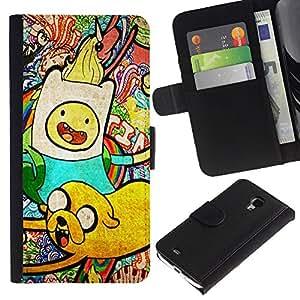 NEECELL GIFT forCITY // Billetera de cuero Caso Cubierta de protección Carcasa / Leather Wallet Case for Samsung Galaxy S4 Mini i9190 // Aventura Tim Patrón
