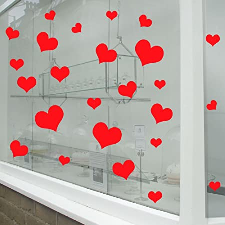 Valentines day hearts wall window stickers decals shop window display love decor decals shop new