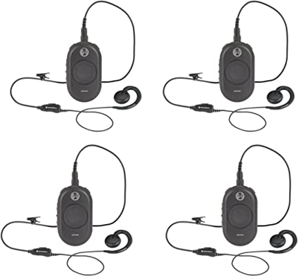 2 Pack of Motorola CLP1040 Radios with 2 Push to Talk PTT earpieces.