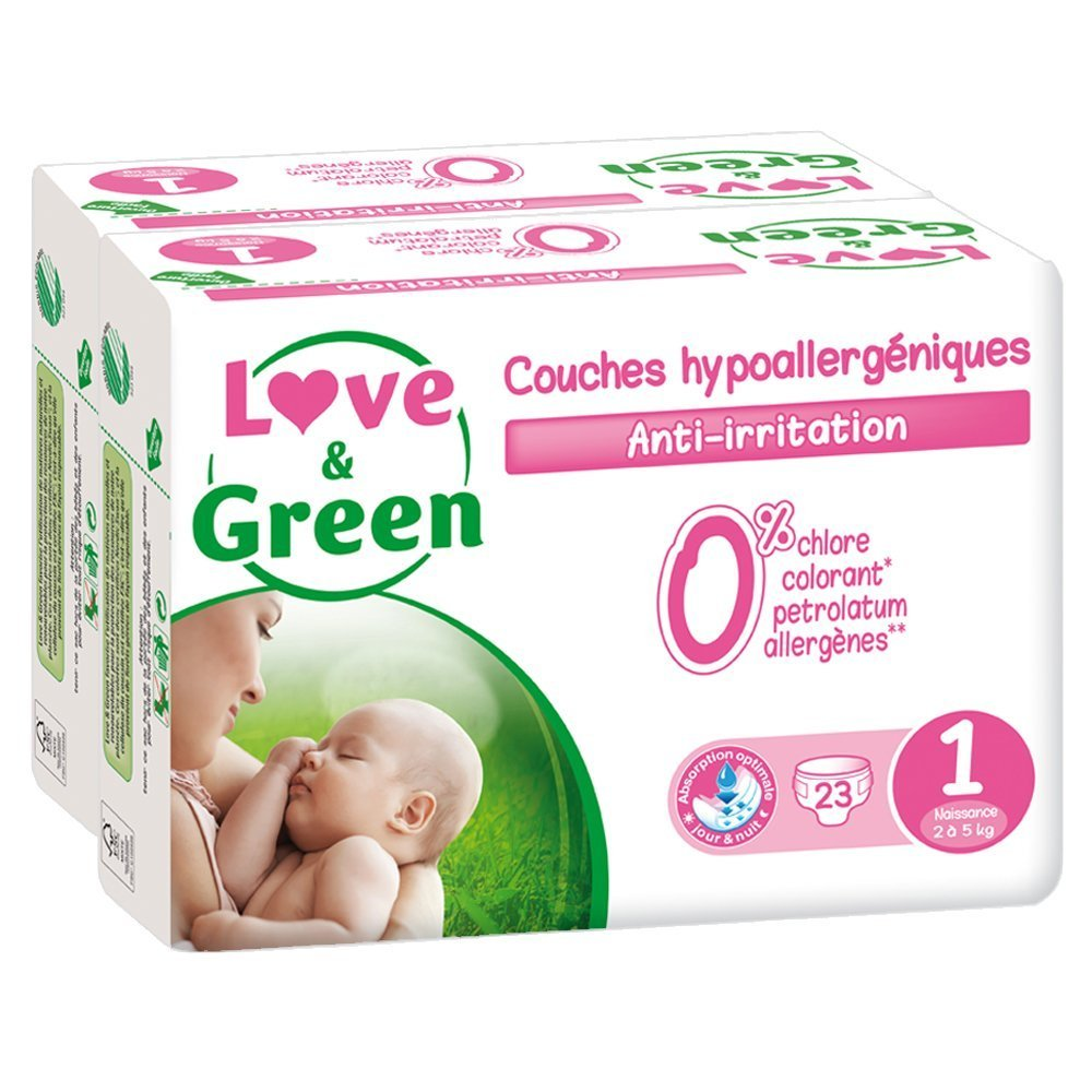 Love & Green Pack de 36 LG Couches Hypoallergéniques T2 CO1078
