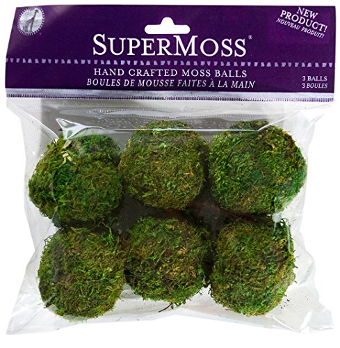 Tree Ball Moss (SuperMoss (21807) Moss Balls, Fresh Green, 2 (6 pack)