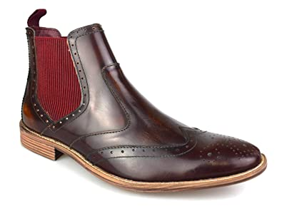 2515f43aa52a4 Premium Mens Oxblood Leather Brogue Chelsea Boots: Amazon.co.uk ...