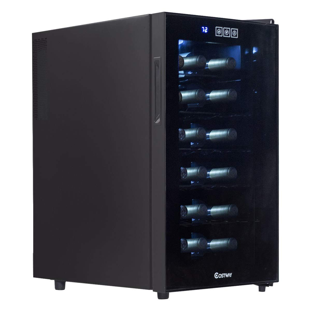 18 Bottle Freestanding Thermoelectric Wine Cooler Black Chiller Indoor Home Kitchen Bar Dining Compact Cabinet Space Saving Refrigerator Fridge Low Noise