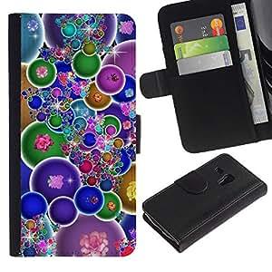 """[Neutron-Star] Modelo colorido cuero de la carpeta del tirón del caso cubierta piel Holster Funda protecció Para Samsung Galaxy S3 MINI 8190 (NOT S3) [Burbujas coloridas Wallpaper Bling neón Flores""""]"""