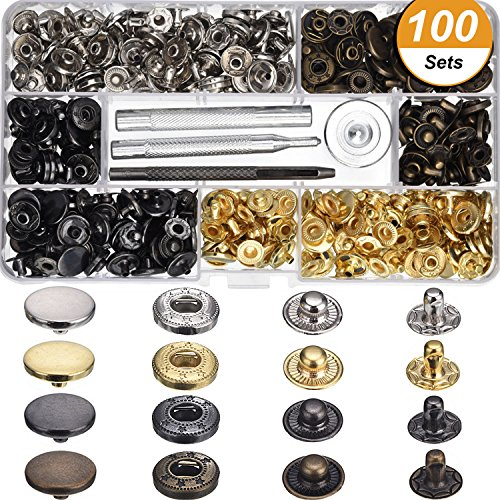 Buy Cheap Hotop 100 Set Snap Fasteners Leather Snaps Button Kit Press Studs with 4 Pieces Fixing Too...