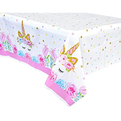 FZR Legend [Upgraded] Unicorn Birthday Party Supplies - 4 Pack Unicorn Plastic Tablecloth | 52 x 90 inches,Disposable Table Cover | Magical Unicorn Themed Party Decorations for Girls and Baby Shower: Home & Kitchen