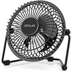 OPOLAR F401 Mini USB Table Desk Personal Fan (Metal Design, Quiet Operation 3.9' USB Cable, High Compatibility), Black