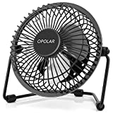 quiet mini desk fan - OPOLAR F401 Mini USB Table Desk Personal Fan (Metal Design, Quiet Operation 3.9' USB Cable, High Compatibility), Black