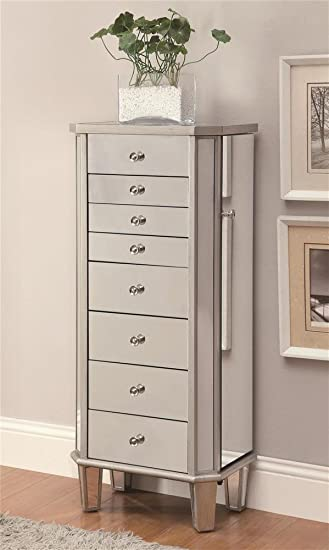 coaster home furnishings 903808 contemporary jewelry armoire antique silver amazoncom antique jewelry armoire