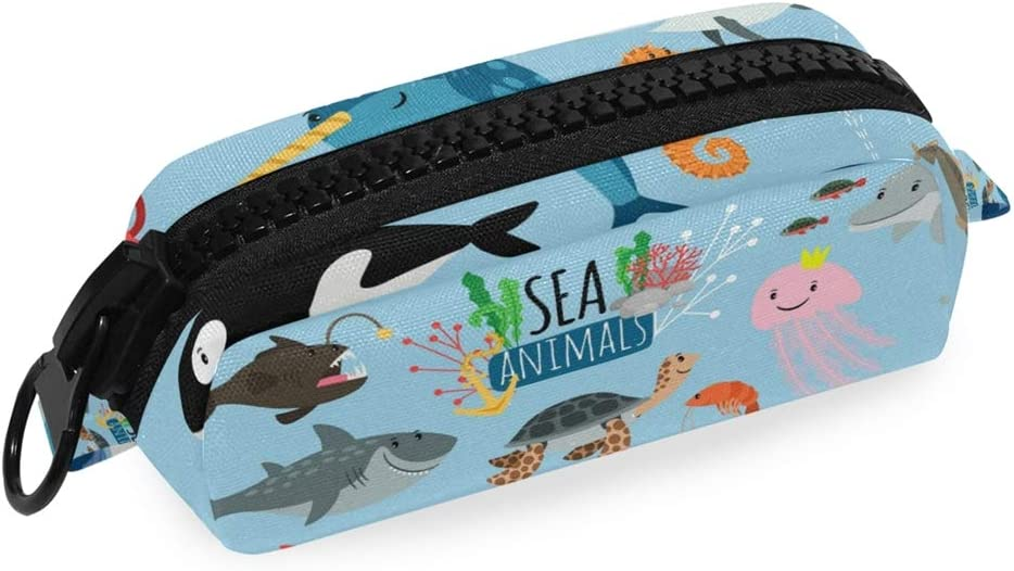 Sealife Whale Shark Pencil Case Zipper Pouch Pen Bag for Girls Kids School College Office