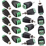 male phono plug - 20pcs Phono RCA Male and Female Plug to AV Screw Terminal Audio/Video Connector Adapter (10 Male & 10 Female)