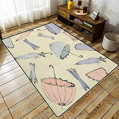 Kids Rug,Vintage,Vintage Fashionable Umbrellas and Old Nostalgic Gloves Fyling Modern Art,Children Crawling Bedroom Rug,4'7