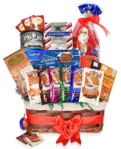 Christmas Chocolate & Candy Variety Gift Basket - Chocolate, Hot Cocoa, Santa, Ghirardelli Squares, Truffles, Land o Lakes, Twinings and more - Christmas Gift for Family, Friends, Him, Her