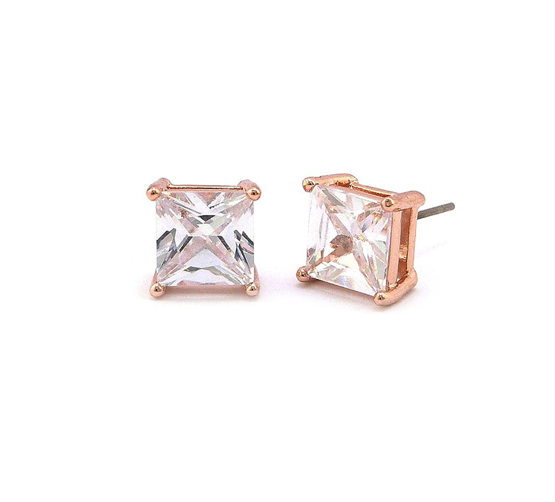 6mm Rose Gold Plated Princess Cut Clear Cubic Zirconia 4-Prong Stud Earrings XZJ6