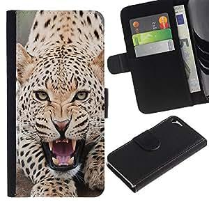 KingStore / Leather Etui en cuir / Apple Iphone 5 / 5S / Leopardo enojado Rugido Spots Furry Animal
