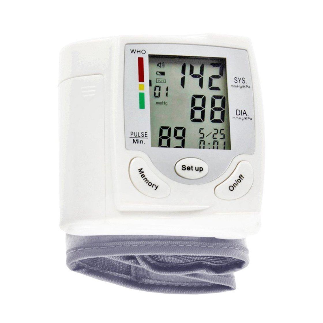 Auto LCD Digital superior del brazo medidor de presión arterial muñeca BP Inicio latido del corazón monitor de pulso con Cuff Health Care Instrument: ...