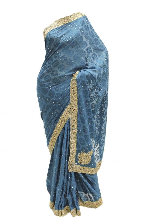 DES1220 Latest Dark Teal & Gold Party Saree Bollywood Indian Designer Party Sari Saree