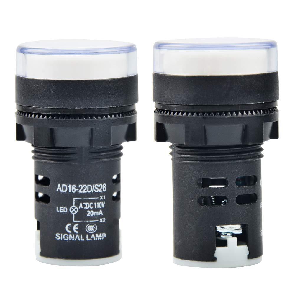 Gasher 12V 20mA Energy Saving LED Indicator Light Green Yellow Red Blue White 10 Pcs