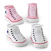 Converse Baby Booties Set for Infant Boys and Girls (0-6 Months) Pink, 0-6 Months