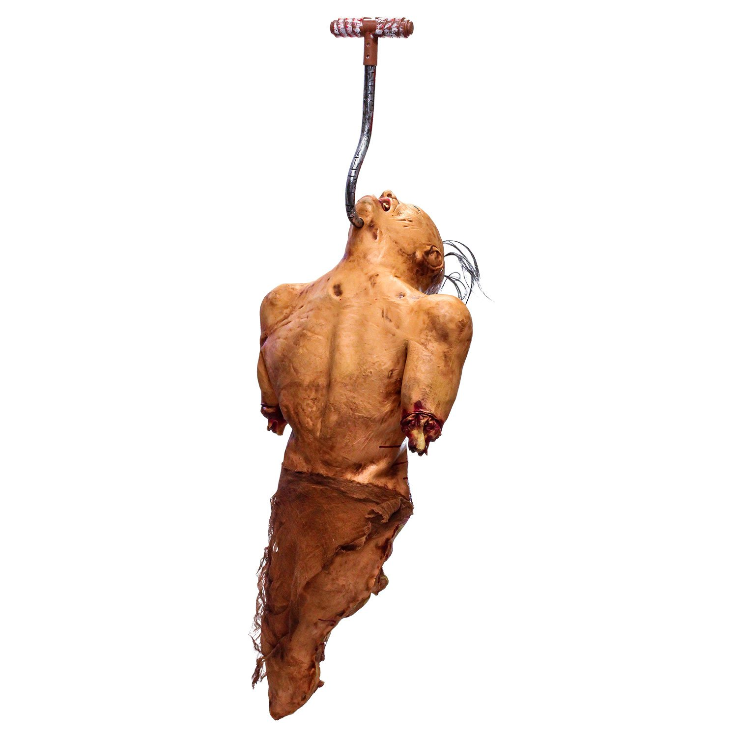 Halloween Haunters Life-Size Zombie Man Ghoul Torso Hanging From Meat Hook In Chin Prop Decoration - Thick Rubber Latex Scary Human Dead Body, Severed Arms & Legs, Exposed Bones