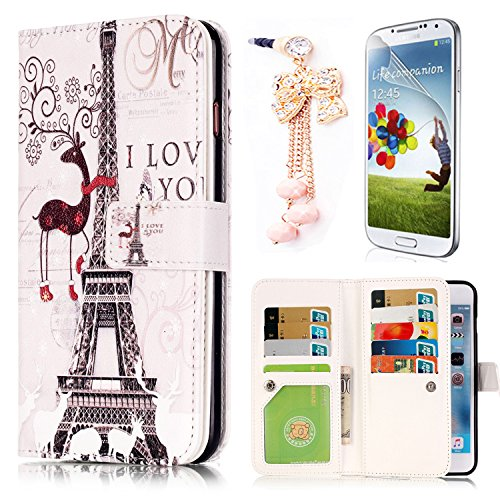 Sunroyal 9 Card Slot PU Leather Wallet Stand Magnetic Detachable Soft TPU Back Cover Flip Stand Case with Golden Bowknot Dustproof Pendant Screen Protector for Samsung Galaxy J7 (2016) SM-J710F