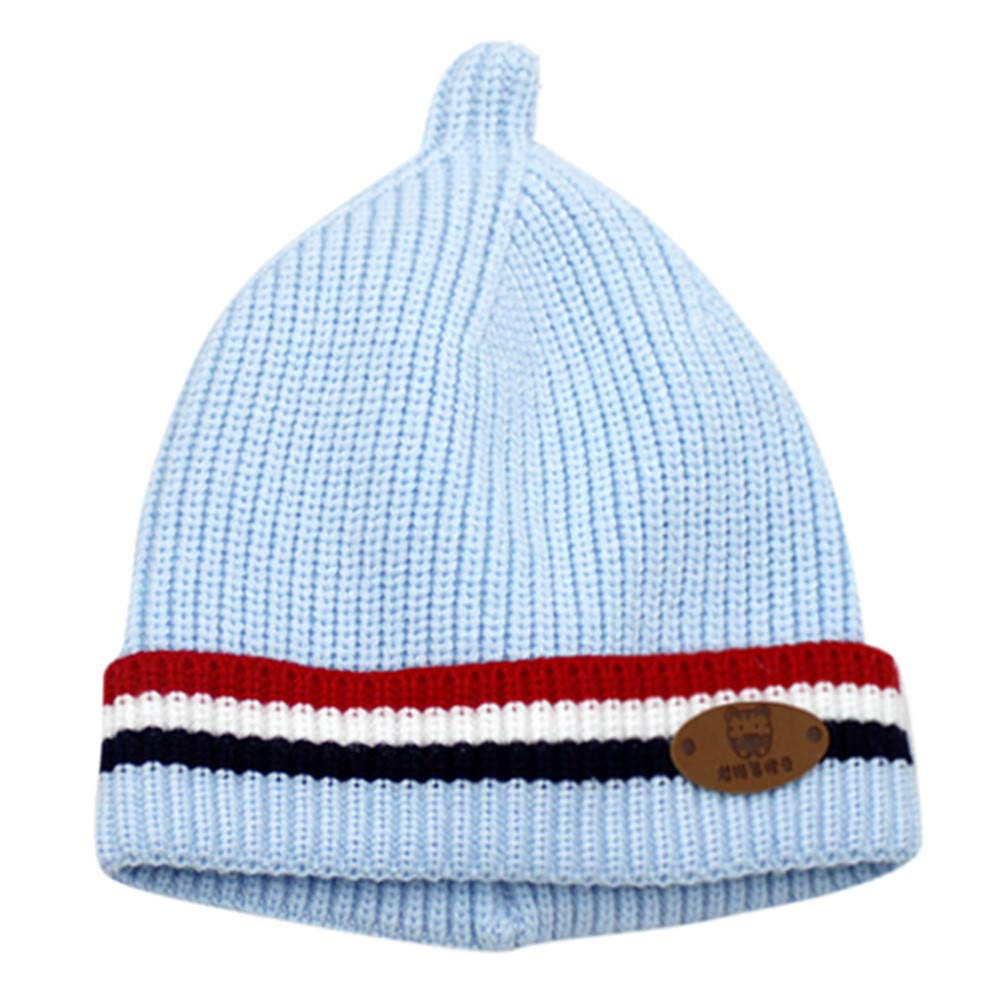 Sikye Winter Baby's Cap Newborn Infant Striped Crocheted Solid Hat Casual Daily Cozy Headwear (Blue)