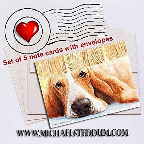 Michael Steddum Basset Watch Basset Hound Note Card Set